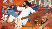 Jezus jaagt geldwisselaars uit de tempel