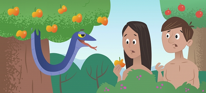 Adam en Eva en de slang